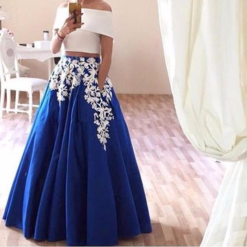 Long Blue A-line Short Sleeves Zipper Appliques Prom Dresses 2019 Two Piece