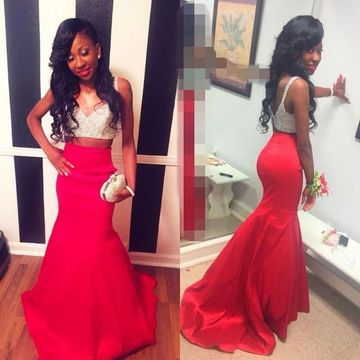Long Junior Red Mermaid Sleeveless Zipper Prom Dresses 2019 Sexy For Short Girls Two Piece