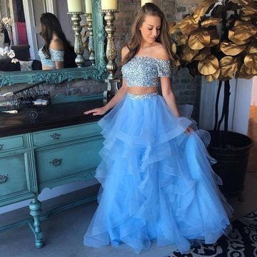 Cheap Long Junior Blue A-line Short Sleeves Crystal Detailing Prom Dresses 2019 Sexy For Short Girls Two Piece