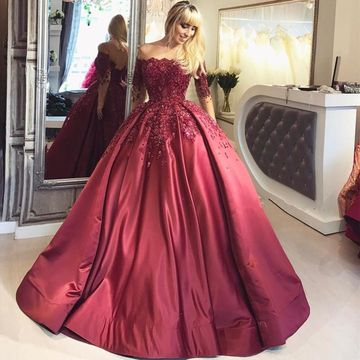 Cheap Long Elegant Burgundy Ball Gown Sequins Prom Dresses 2019 Long Sleeves Sexy For Short Girls