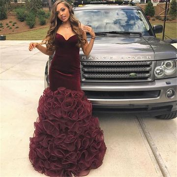 c409d377d0be 49%OFF Burgundy Sweetheart Mermaid Velvet Organza Prom Dresses 2019  Strapless Sleeveless – lolipromdress.com
