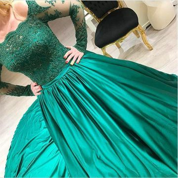 Green Long Prom Dresses 2019 A-line Long Sleeves