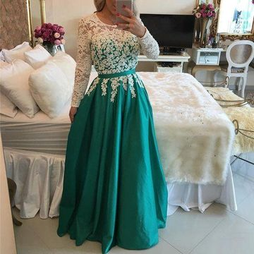 Long Prom Dresses 2019 A-line Long Sleeves Lace Modest