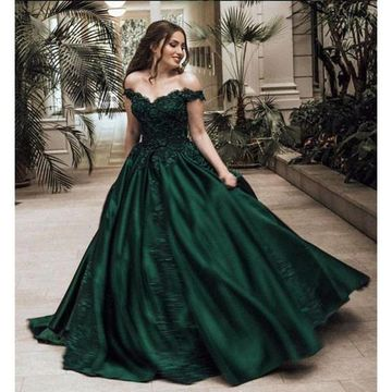 Green Long Prom Dresses 2019 A-line