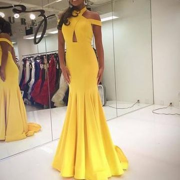 Yellow Off the Shoulder Mermaid Prom Dresses 2019