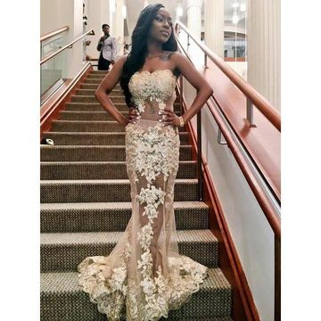f98790d473bd2 49%OFF Gold Sweetheart Lace Illusion Tulle Mermaid Prom Dresses 2019 ...