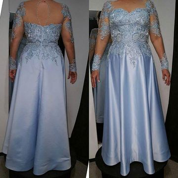 Blue Long Mother of Bride Dresses 2020 A-line Long Sleeves