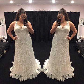 Long Wedding Dresses 2019 V-Neck Sleeveless Lace Plus Size