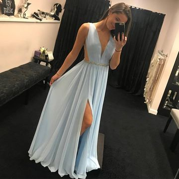 Blue Long Prom Dresses 2020 A-line V-Neck Sleeveless Chiffon