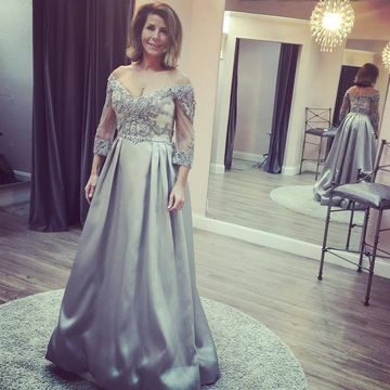 Silver Mother of Bride Dresses 2020 A-line V-Neck
