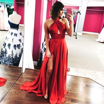 Red Long Prom Dresses 2019 A-line Halter Sleeveless Open Back