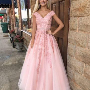 Pink Long Prom Dresses 2019 A-line Ball Gown V-Neck