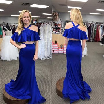 Royal Blue Long Prom Dresses 2019 Mermaid Two Piece