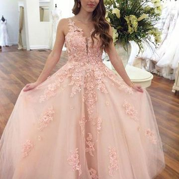 66f8896950e 49%OFF Pink Long Prom Dresses 2019 Ball Gown V-Neck Sleeveless Open ...