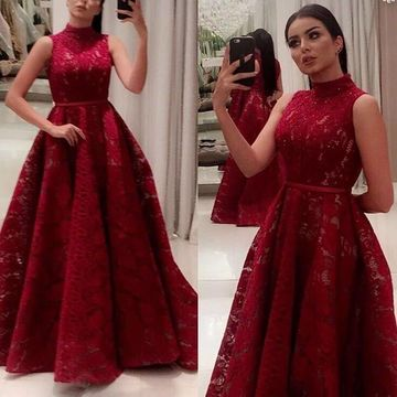 Red Long Prom Dresses 2019 A-line Sleeveless Lace