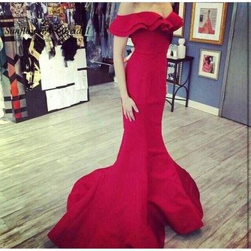 Red Long Prom Dresses 2019 Mermaid