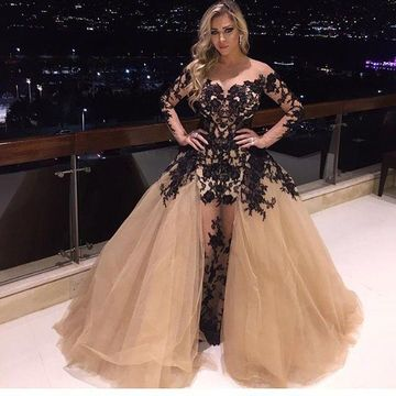 Long Prom Dresses 2019 A-line Long Sleeves