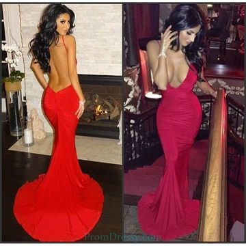 Red Long Prom Dresses 2019 Mermaid V-Neck Open Back Sexy