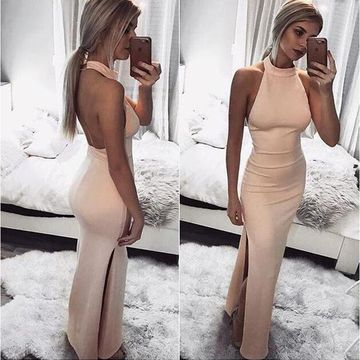Pink Long Prom Dresses 2019 Sheath Halter Sleeveless Open Back