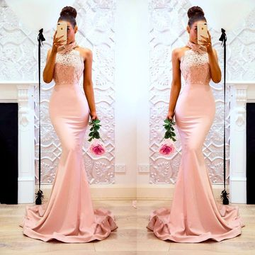 Pink Long Prom Dresses 2019 Mermaid Halter Sleeveless Lace