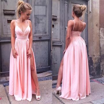 Pink Long Prom Dresses 2020 V-Neck Sleeveless
