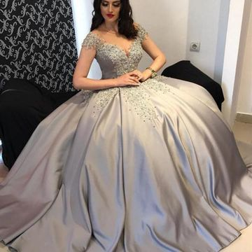 Silver Long Prom Dresses 2019 Ball Gown
