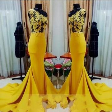 Yellow Long Prom Dresses 2019 Mermaid One Shoulder Sleeveless