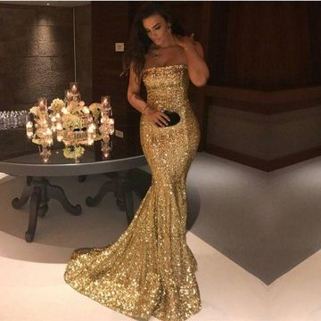 Gold Sequin Long Prom Dresses 2019 Mermaid Strapless Sleeveless