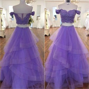 Grape Long Prom Dresses 2019 Two Piece