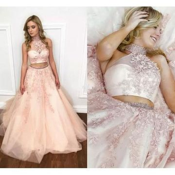 Pink Long Prom Dresses 2019 A-line Halter Sleeveless Two Piece
