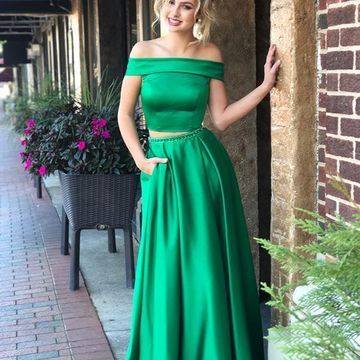 Green Long Prom Dresses 2019 A-line Two Piece