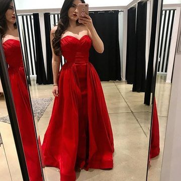 Red Long Prom Dresses 2019 A-line Sleeveless
