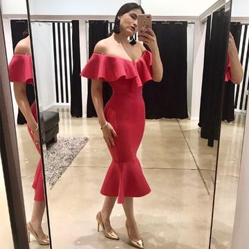 Red Short Wedding Guest Dresses 2019 Mermaid