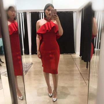Red Short Wedding Guest Dresses 2019 Sheath Halter
