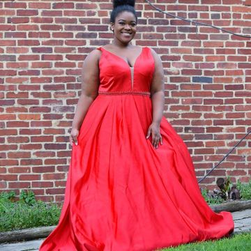 49%OFF Red Long Prom Dresses 2019 A-line V-Neck Sleeveless Plus Size ...