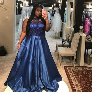 Blue Long Prom Dresses 2019 A-line Halter Sleeveless African Plus Size