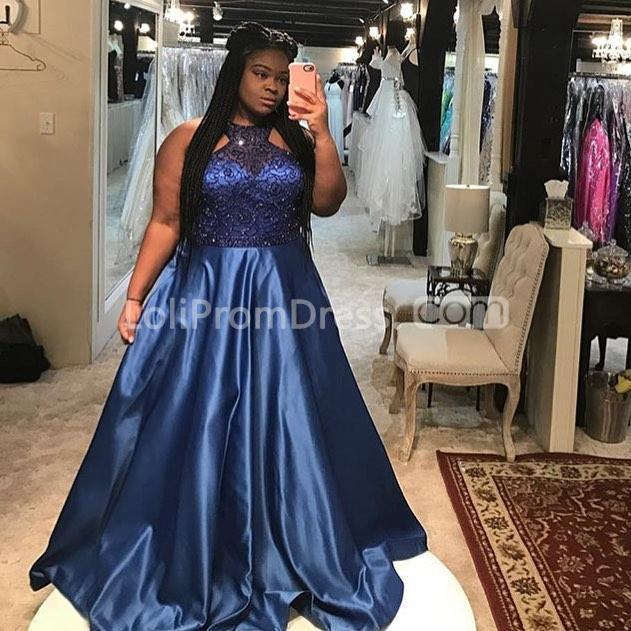 49%OFF Blue Long Prom Dresses 2019 A-line Halter Sleeveless ...