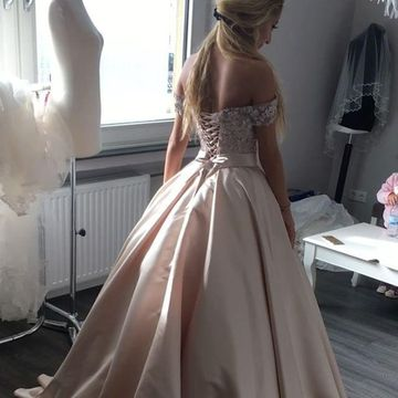 Pink Long Wedding Dresses 2019 Ball Gown Lace
