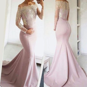Pink Long Prom Dresses 2020 Mermaid Long Sleeves Lace