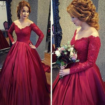 d7118b20d41 49%OFF Red Long Prom Dresses 2019 Ball Gown Long Sleeves Lace ...