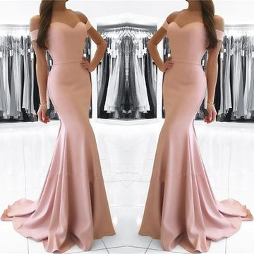 Pink Long Bridesmaid Dresses / Prom Dresses 2019 Mermaid