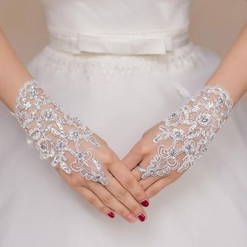 Beaded Lace Floral Fingerless Wedding Gloves