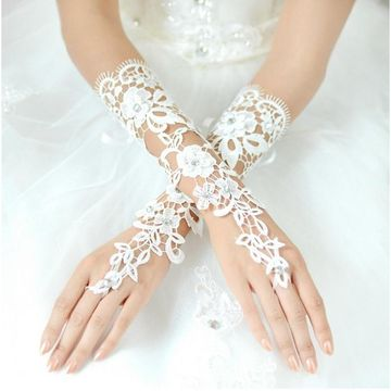 Long  Lace Appliques Fingerless Wedding Gloves