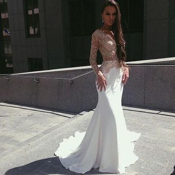 White Long Prom Dresses 2019 V-Neck Long Sleeves Lace Sexy