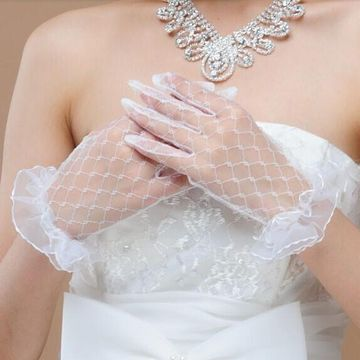 Simple Tulle Ruffles Wedding Gloves