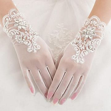 Delicate Short Wedding Gloves with Appliques Beading