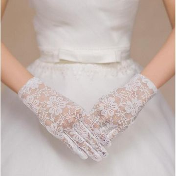 Popular Full-Fingered Short Lace Wedding Golves