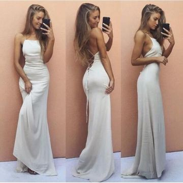 White Long Prom Dresses 2019 Sheath Sleeveless