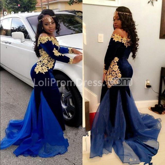 5acd6cdfde2 49%OFF Royal Blue Long Prom Dresses 2019 Mermaid Long Sleeves ...