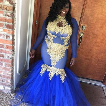 Royal Blue Long Prom Dresses 2020 Mermaid Long Sleeves African Sexy Plus Size